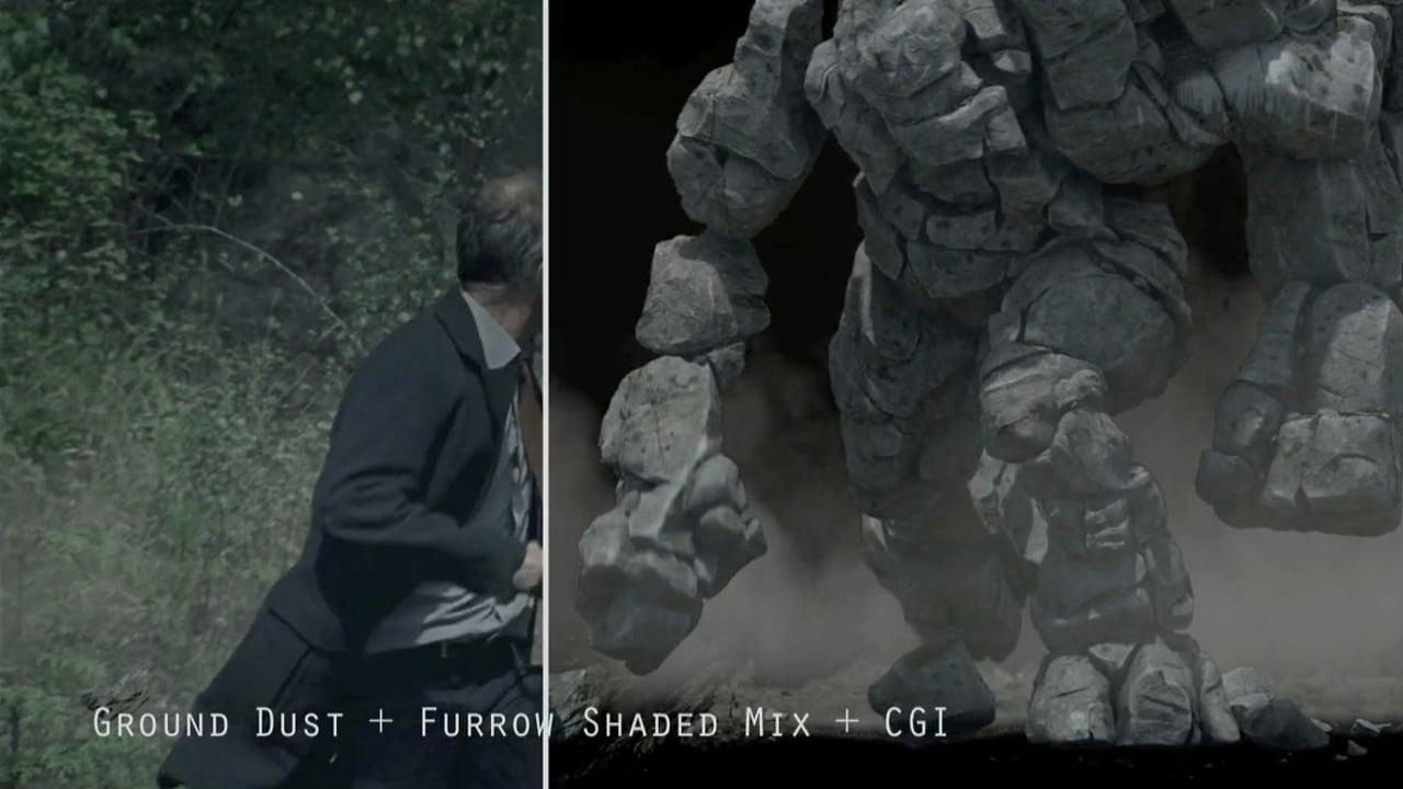 40 Years VFX breakdown of CGI rock monster for shot #124.